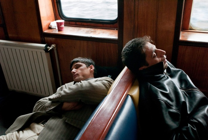 Sleeping on the ferry over the Bosporus