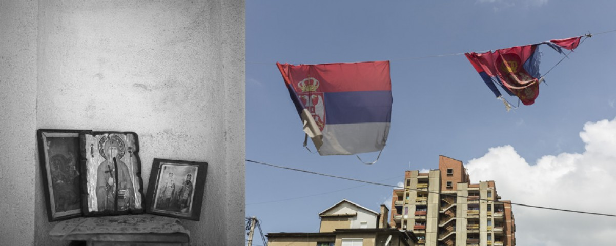 Divided city of Mitrovica, border Kosovo – Serbia
