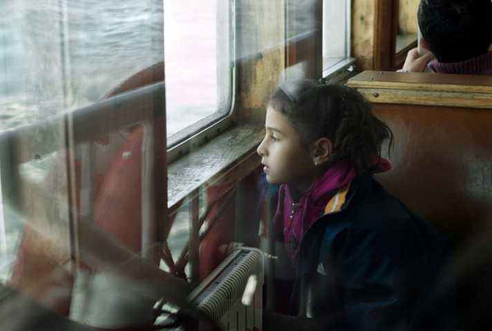 Girl overlooking the Bosporus from the ferry