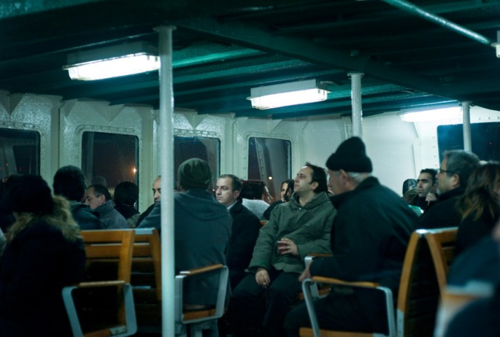 Passengers on the ferry over the Bosporus